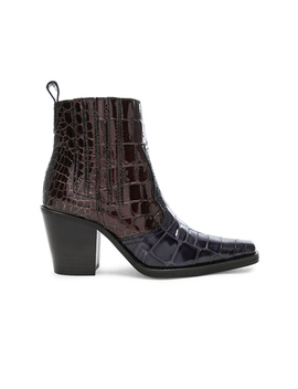 Croc Embossed Callie Boots by Ganni