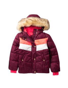 Agnes Retro Puffer Faux Fur Trimmed Hoodie (Big Girls) by Gerry
