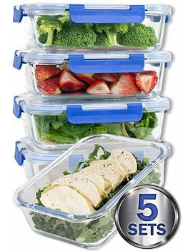 [Larger Premium 5 Set] 36 Oz. Glass Meal Prep Containers With Lifetime Lasting Snap Locking Lids Glass Food Containers Bpa Free, Microwave, Oven, Freezer And Dishwasher Safe (4.5 Cups, 36 Oz.) by Misc Home