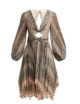 Corsage Pleat Python Print Dress by Matches Fashion