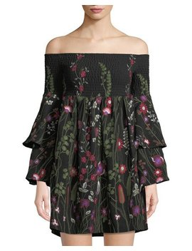 Off The Shoulder Floral Embroidered Mini Dress by Red Carter
