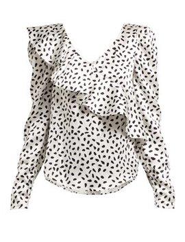 Polka Dot Ruffled Satin Top by Matches Fashion