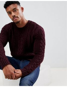 Asos Design Heavyweight Cable Knit Sweater In Burgundy by Asos Design