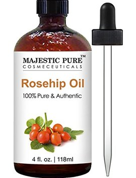 Majestic Pure Rosehip Oil For Face, Nails, Hair And Skin, 100 Percents Pure & Natural, Cold Pressed Premium Rose Hip Seed Oil, 4 Oz by Majestic Pure