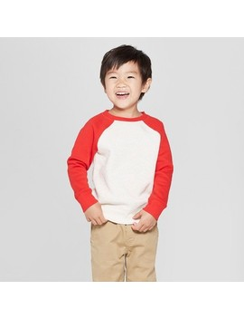 Toddler Boys' Fleece Crew Raglan Sleeve Sweatshirt   Cat & Jack™ Red/Tan by Cat & Jack