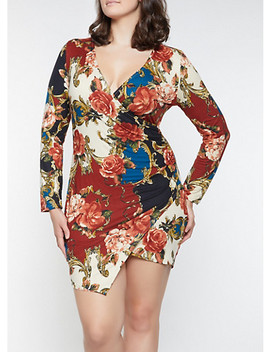 Plus Size Printed Faux Wrap Dress by Rainbow