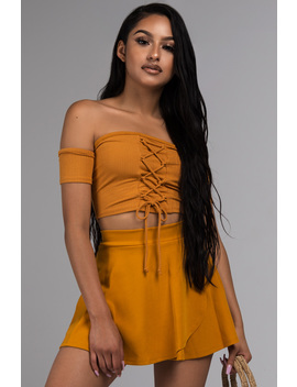 Paxton Kimi Lace Up Off Shoulder Crop Top by Akira