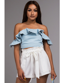 Sunny Day Denim Off Shoulder Crop Top by Akira