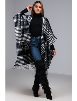 Here To Stay Houndstooth Printed Poncho by Akira