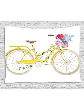 Ambesonne Vintage Tapestry By, Watercolor Style Effect Bicycle With Leaves And Flowers In The Basket Pattern, Wall Hanging For Bedroom Living Room Dorm, 60 W X 40 L Inches, White And Yellow by Ambesonne