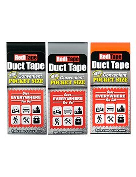 Redi Tape 10932 Travel Size Duct, Tape, Black, Orange, Silver (3 Pack) by Redi Tape