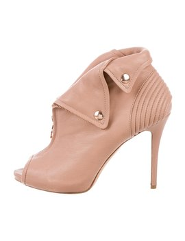 Leather Peep Toe Ankle Boots by Alexander Mc Queen