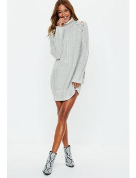 Grey Chunky Roll Neck Knitted Jumper Dress by Missguided