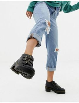 Dr Martens Coppola Black Leather Triple Strap Heeled Ankle Boots by Dr Martens