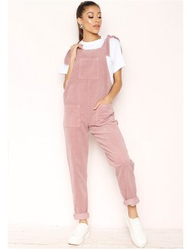Shayla Pink Corduroy Dungarees by Missy Empire