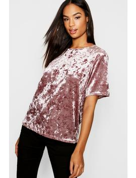 Tall Crushed Velvet T Shirt by Boohoo