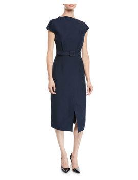 Cap Sleeve Belted Wrap Style Wool Silk Midi Dress by Oscar De La Renta