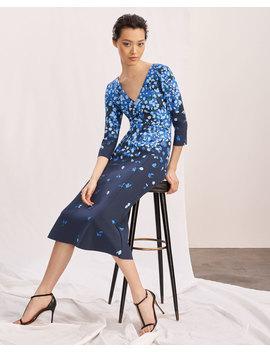 V Neck 3/4 Sleeve Floral Print Midi Cocktail Dress by Carolina Herrera