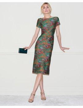 Wildflower Jacquard Short Sleeve Sheath Dress by Zac Posen