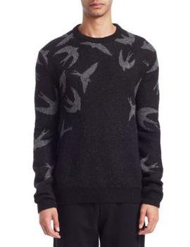 Swallow Swarm Crewneck Sweater by Mc Q Alexander Mc Queen