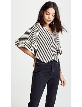 V Neck Stripe Ruffle Tee by See By Chloe