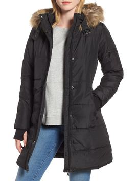 Water Resistant Hooded Coat With Faux Fur Trim by Maralyn & Me
