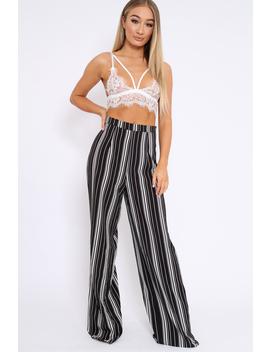 Black And White Stripe Wide Leg Trousers   Krisha by Rebellious Fashion