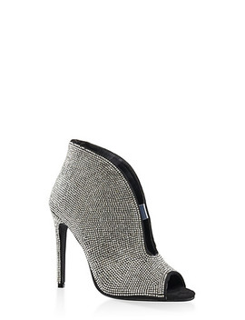 Rhinestone Cut Out High Heel Booties by Rainbow
