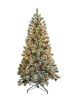National Tree 6' Crystal Cashmere Tree With Pine Cones, Red Berries &Amp; 200 Clear Lights by National Tree