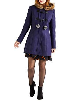 Faux Fur Duffle Coat by Yumi