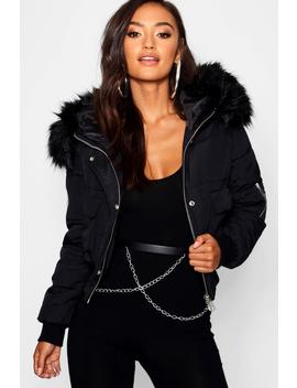 Petite Luxe Faux Fur Hood Sporty Cropped Coat by Boohoo