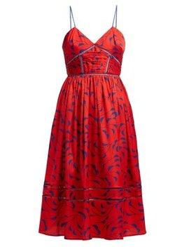 Azalea Print Satin Dress by Self Portrait