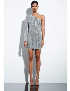 Peace + Love Silver Embellished Sequin One Shoulder Dress by Missguided