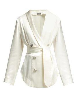 Double Breasted Waist Tie Silk Blouse by Balmain