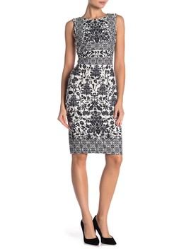 Mosaic Floral Sheath Dress by Modern American Designer