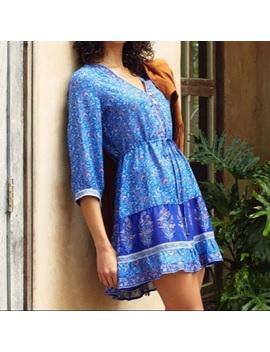 Moonlight Blue Tunic Dress Floral Cobalt S M L NewBoutique by Austin Gal