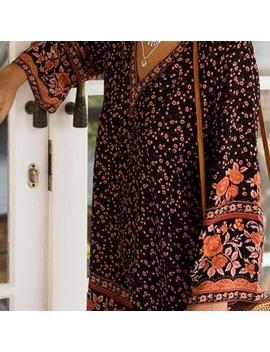 Floral Bell Sleeve Mini Dress Dahlia Brown KaftanBoutique by Austin Gal