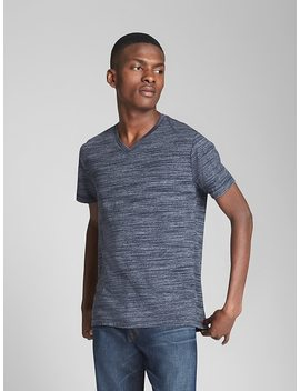 Essential Short Sleeve V Neck T Shirt In Spacedye by Gap