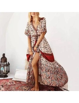 Boho Maxi Gown Dress Rosewood Floral Elle Red NewBoutique by Poshmark