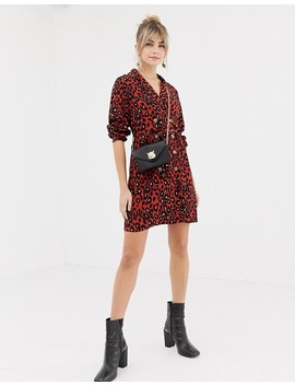 New Look Shirt Dress With Double Breasted Buttons In Leopard Print by New Look