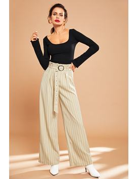 O Ring Belted Striped Pants by Shein
