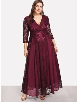 Plus High Waist Lace Overlay Wrap Dress by Shein