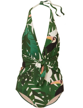 Printed Halterneck Swimsuit by Adriana Degreas