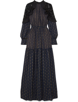 Macramé Lace Paneled Fil Coupé Chiffon Maxi Dress by Self Portrait