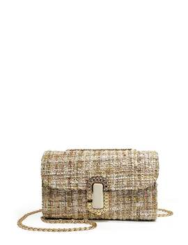Tweed Overlay Flap Chain Crossbody Bag by Sheinside