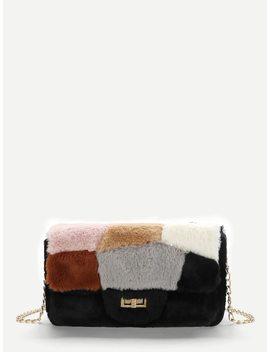 Faux Fur Design Chain Crossbody Bag by Sheinside