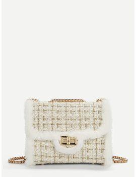 Faux Fur Decor Chain Crossbody Bag by Sheinside