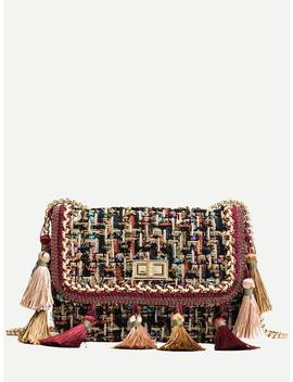 Tassel Trim Decor Crossbody Chain Bag by Sheinside