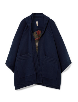 Intarsia Wool Blend Poncho by Burberry