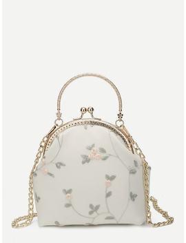 Floral Decor Kisslock Chain Bag by Sheinside